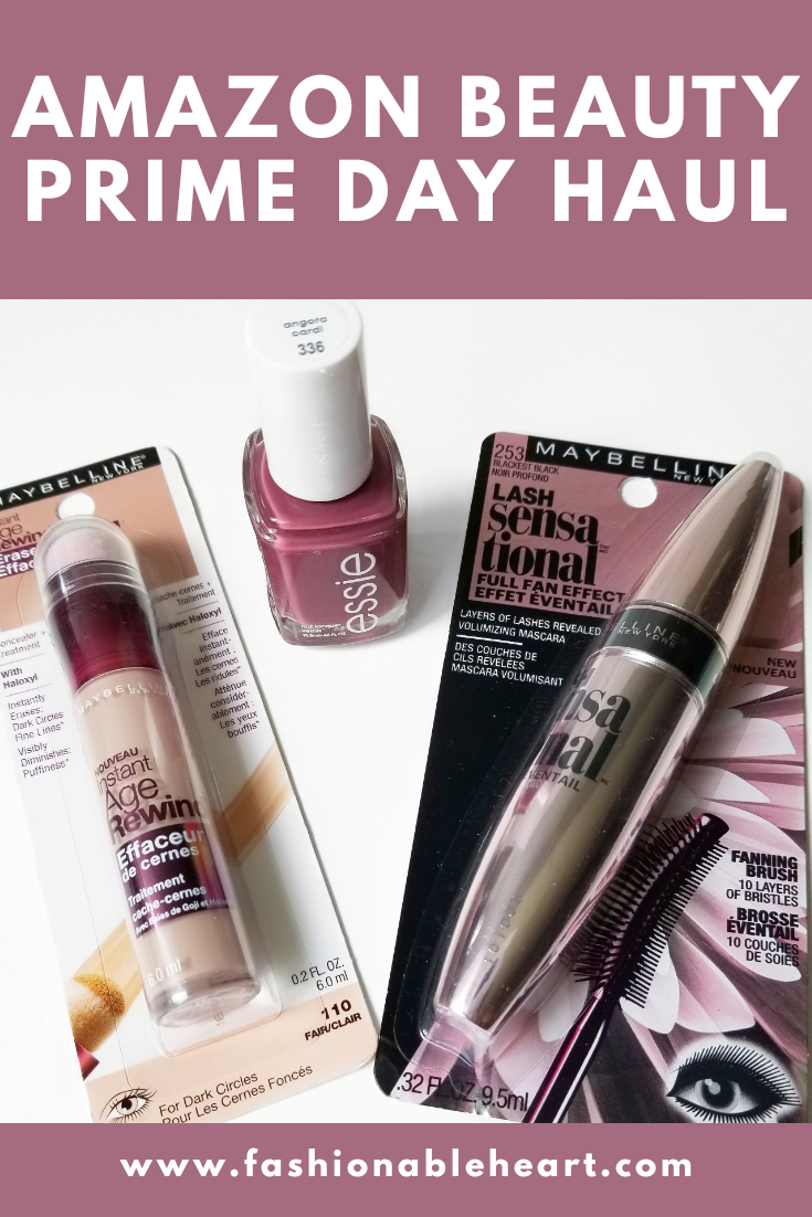 bblogger, bbloggers, bbloggerca, canadian beauty blogger, beauty blog, southern blogger, amazon, prime day, 2019, beauty haul, maybelline, essie, instant age rewind, concealer, angora cardi, lash sensational, mascara, nail polish