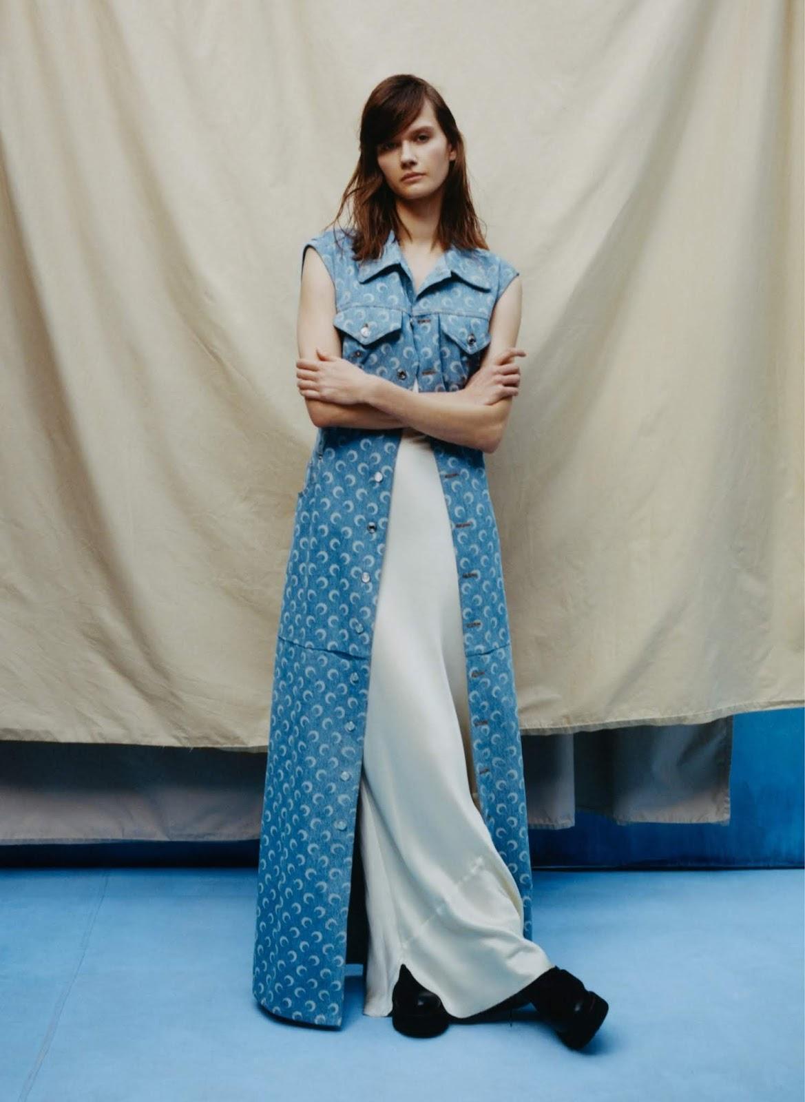 Daniela Kocianova - Nili Lotan silk slip. Marine Serre vest. R13 boots. Photographed by Tyler Mitchell, Vogue, April 2020