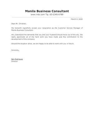 Acceptance Letter Sample For Resignation