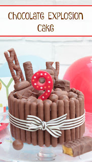 This chocolate cake is exploding with chocolate. Perfect for a chocolate lover. A rich chocolate sponge is covered in chocolate fudge frosting and chocolate fingers. The cake is then topped with chocolate bars, and Malteasers