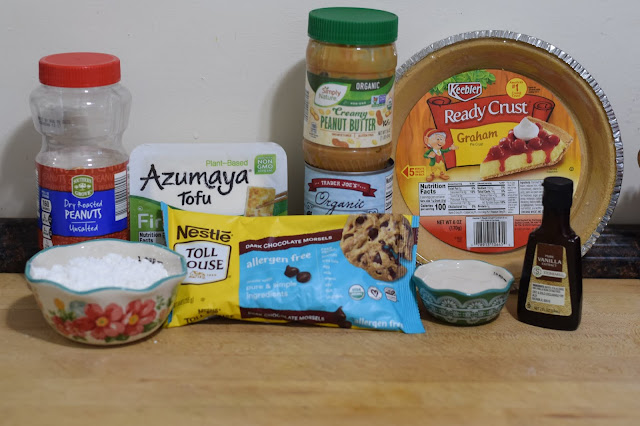 The ingredients needed to make the easy vegan peanut butter pie.