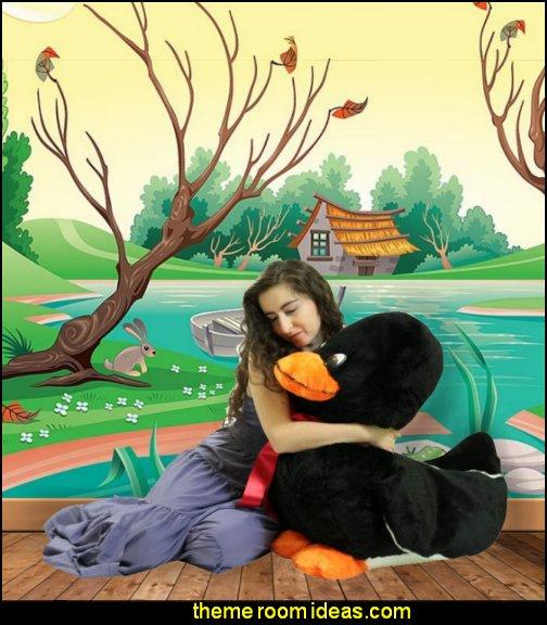 duck decor plush ducks pond wallpaper mural decorating with ducks  Giant Stuffed Black Duck