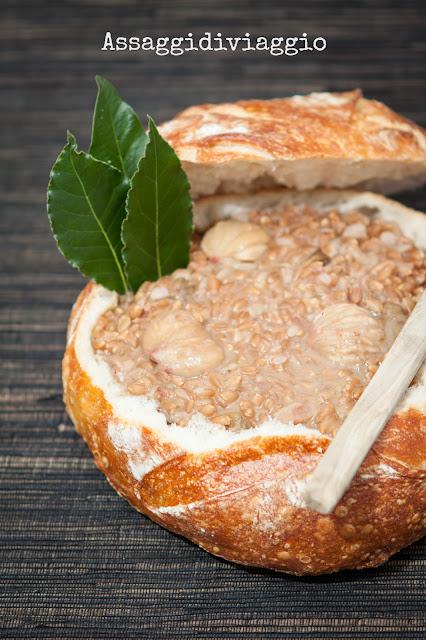 Zuppa di farro, castagne e funghi porcini