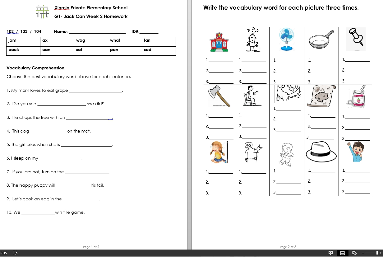 Xinminmst Vocabulary Worksheet For Week 2 Answer Key