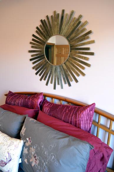 Wood Stained Sunburst Mirror