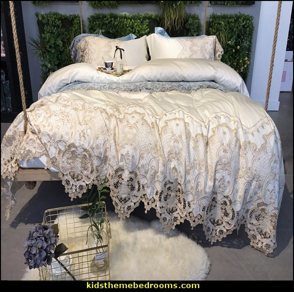 Lace bedding  Victorian Decorating ideas - Victorian bedroom ideas - Vintage decorating - Victorian Boudoir - Romantic Victorian Bedroom Decor - lace and ruffles bedding - floral bedding - Vintage decor - vintage themed bedroom for a girl - modern victorian bedroom ideas - Victorian bedroom furniture - victorian home decor -