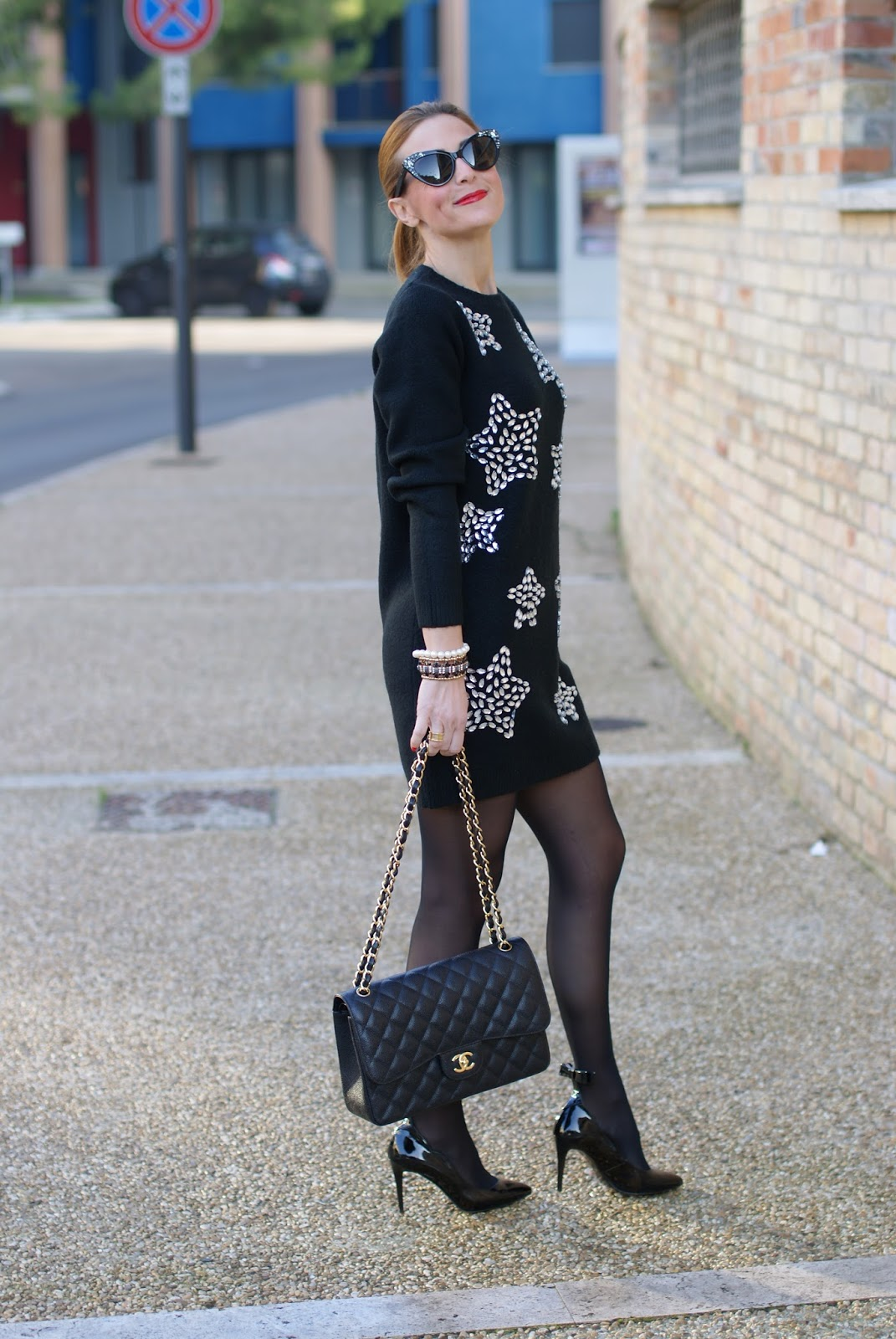 more photos 4a228 ed771 My elegant all black outfit with a sweater dress and Sergio Amaranti BEKATE  pumps