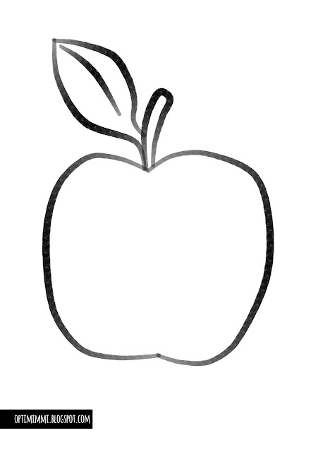 An easy coloring page of an apple / Helppo värityskuva omenasta