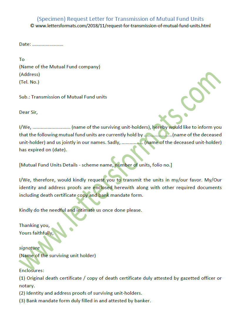 Request Letter For Transmission Of Mutual Fund Units Samples