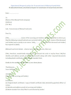 request letter for transmission of mutual fund units