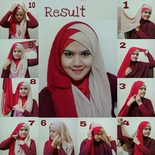 Hijab Dua Warna Menutup Dada