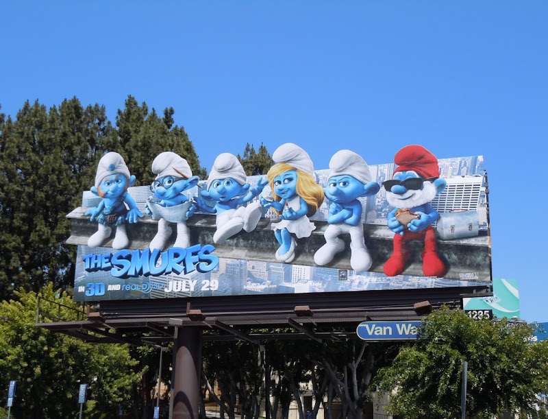 The Smurfs movie billboard