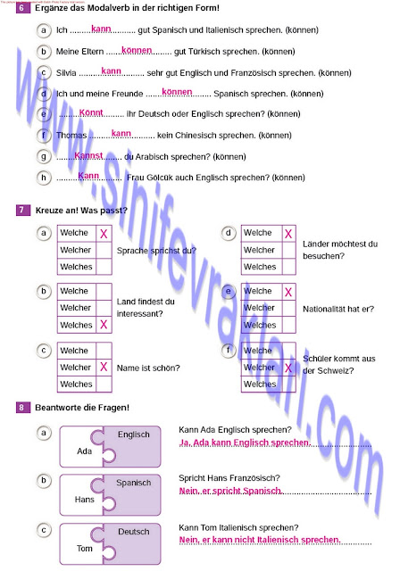 Almanca A1.2 Çıpa Yayınları Çalışma Kitabı Cevapları Sayfa 12