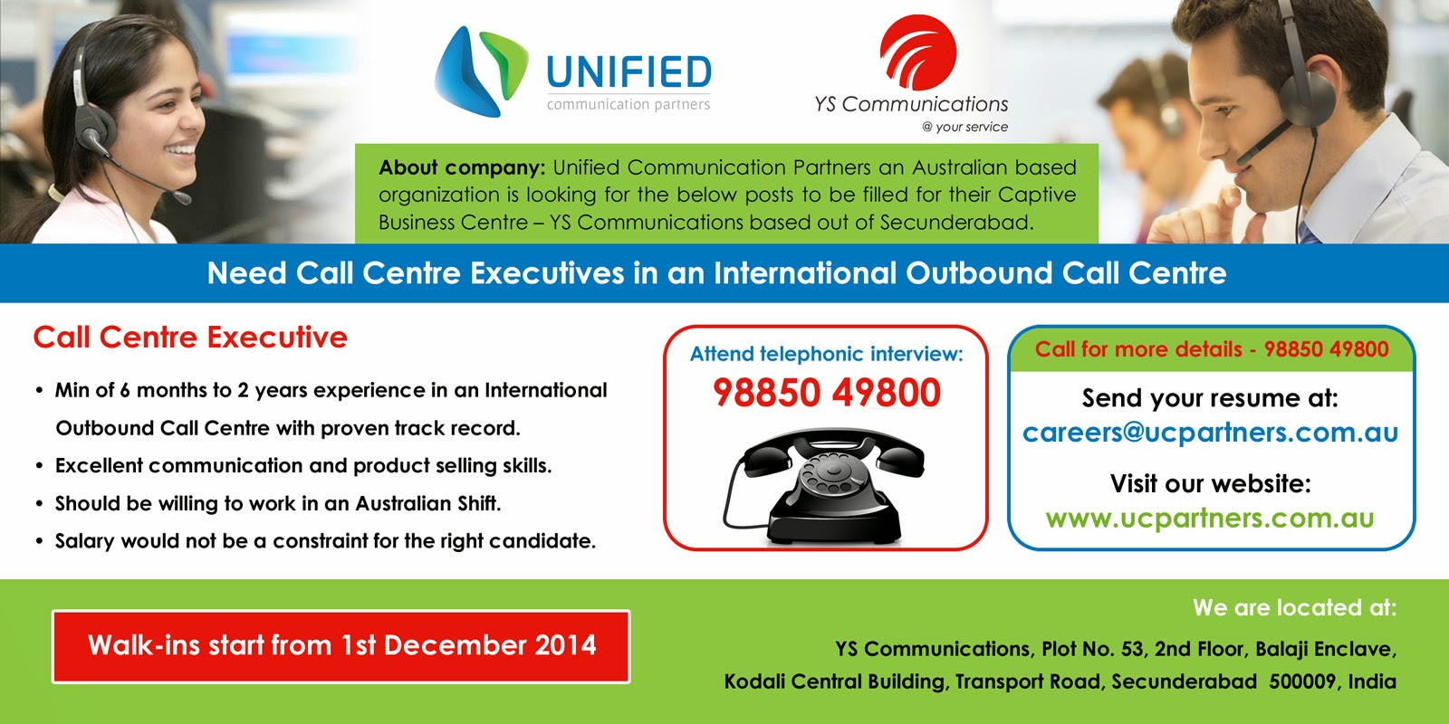 Call centre executive ad
