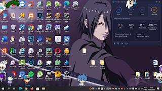imagem mostrando os Shimejis vocaloid no desktop