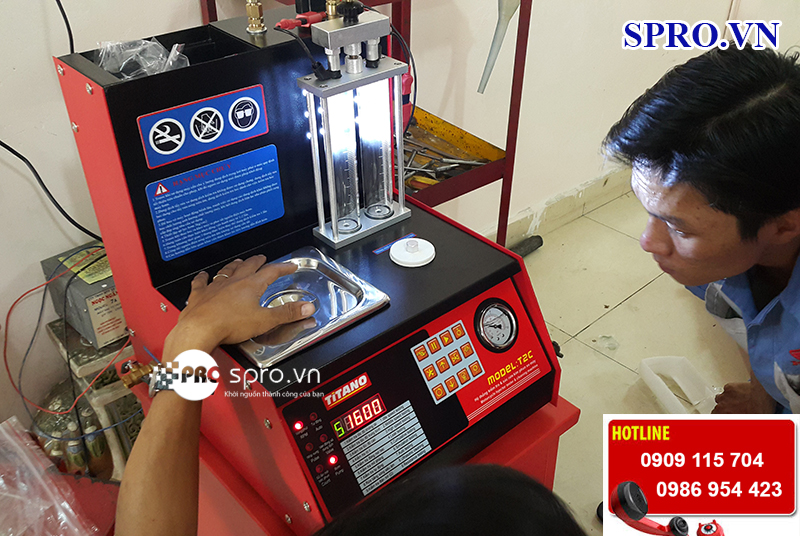 Máy súc béc, súc rửa vệ sinh kim phun xăng điện tử Titano T2Cplus