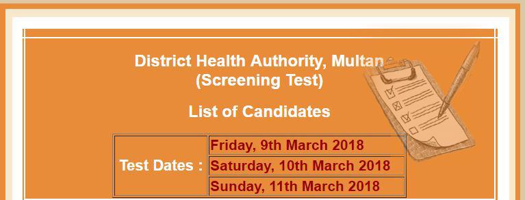 District Health Authority Multan NTS Test Schedule Latest 2018, Laste Date, List of Candidates Multan