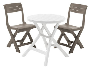 CHEAPEST Table plus Cappuccino chairs £49.99 Allibert Oregon Bistro + 2 Tacoma Chairs