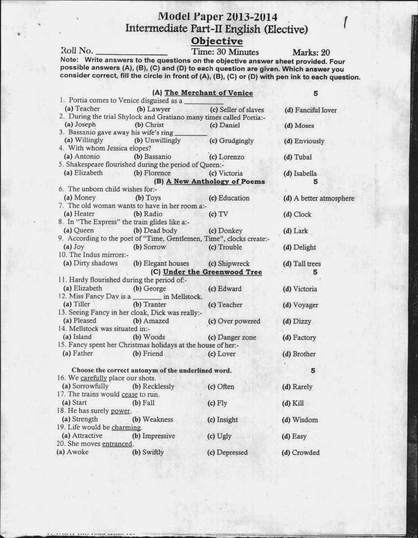 English (Elective) 12th Class Assessment Scheme/ Model