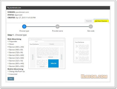 Cara daftar dan pasang iklan Propeller Ads Media ke Blog 9
