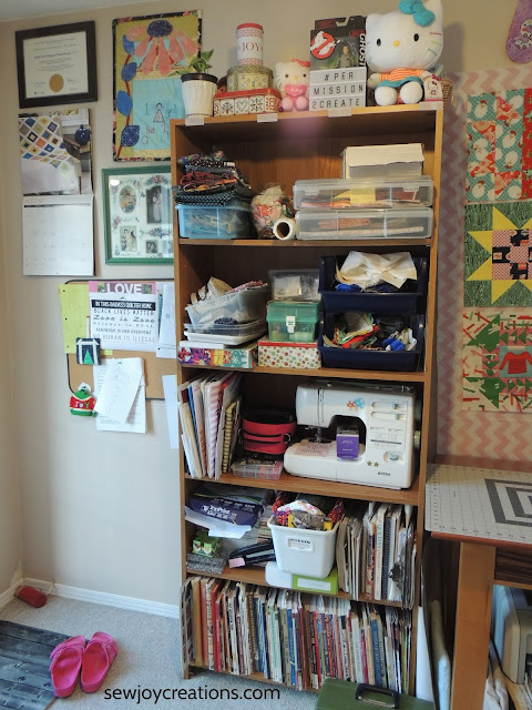sewing room storage bookcase storage reorganizing