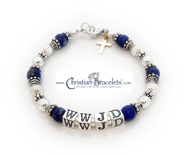 Lapis Lazuli Blue WWJD Bracelet with a Gold Cross Charm
