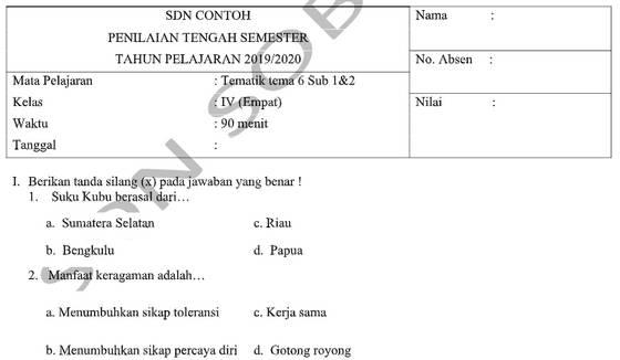 Soal PTS Kelas 4 Tema 6 Subtema 1 dan 2 dengan Kunci Jawaban