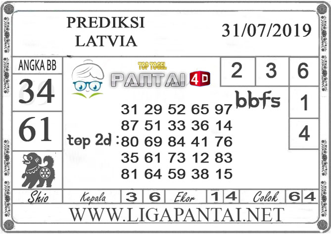 """PREDIKSI TOGEL """"LATVIA"""" PANTAI4D 31 JULI 2019"""
