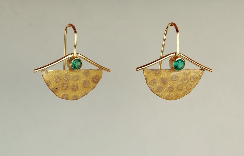 half moon shape earrings with mixed metals and green stones
