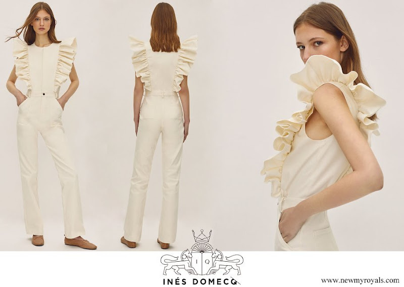 Queen Letizia wore an IQ Collection Inés Domecq jumpsuit with ruffle detail