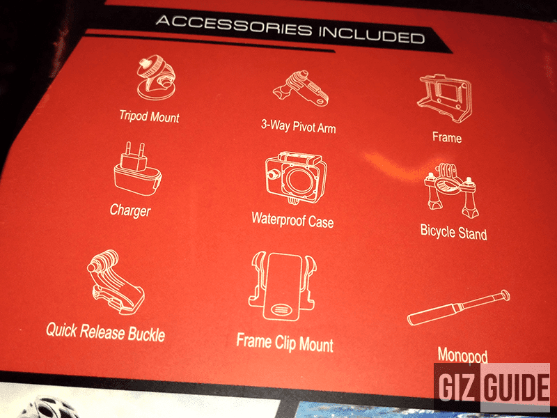 Cherry Action Cam Accessories Included