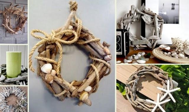 Διακοσμητικά στεφάνια από Θαλασσόξυλα