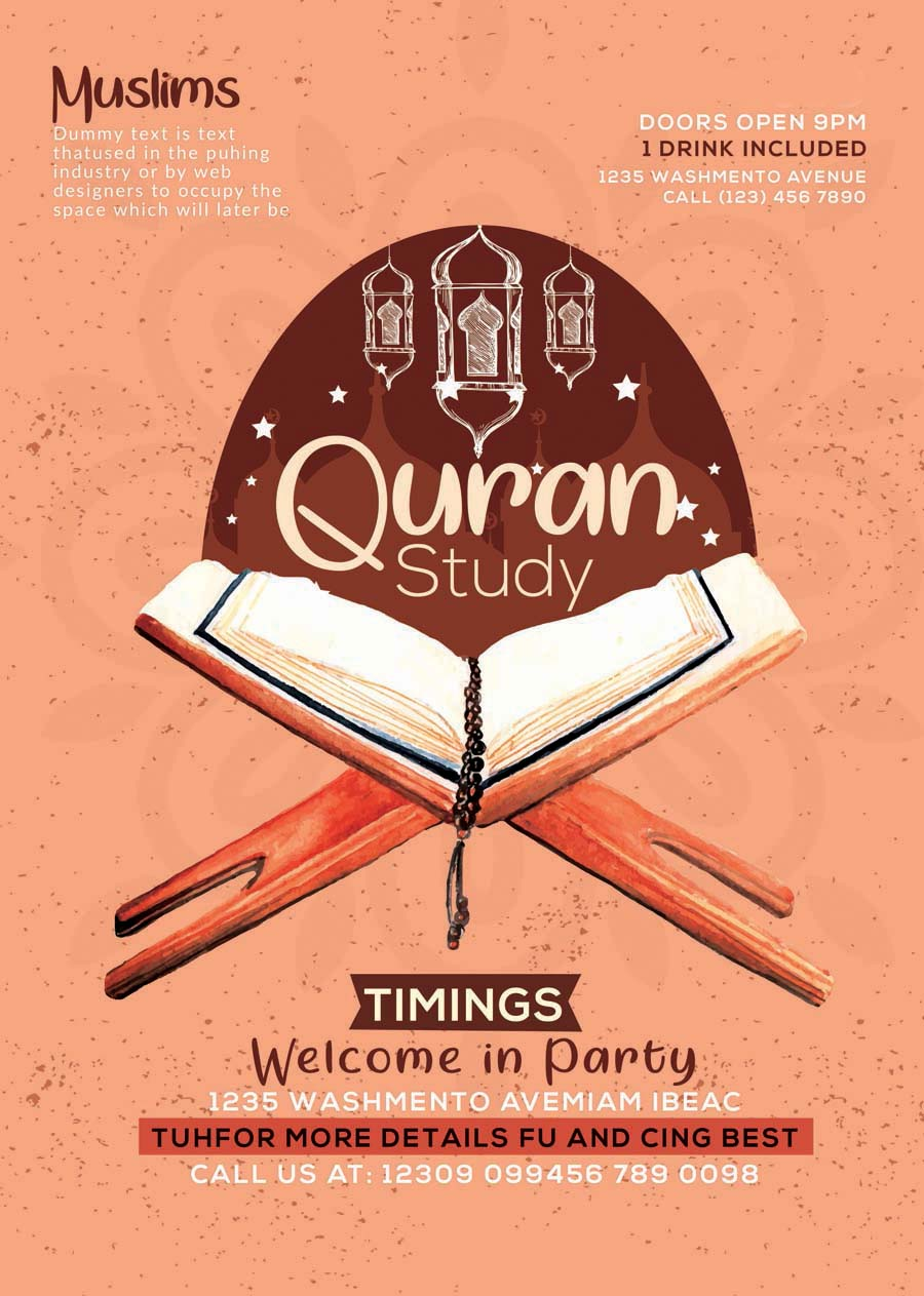 Quran Pak Study PSD Poster Template