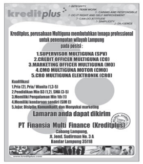 PT. FINANSIA MULTI FINANCE (KREDITPLUS)