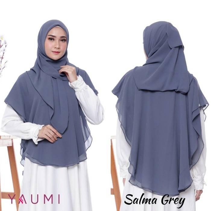Yaumi Hijab Khimar Salma Grey