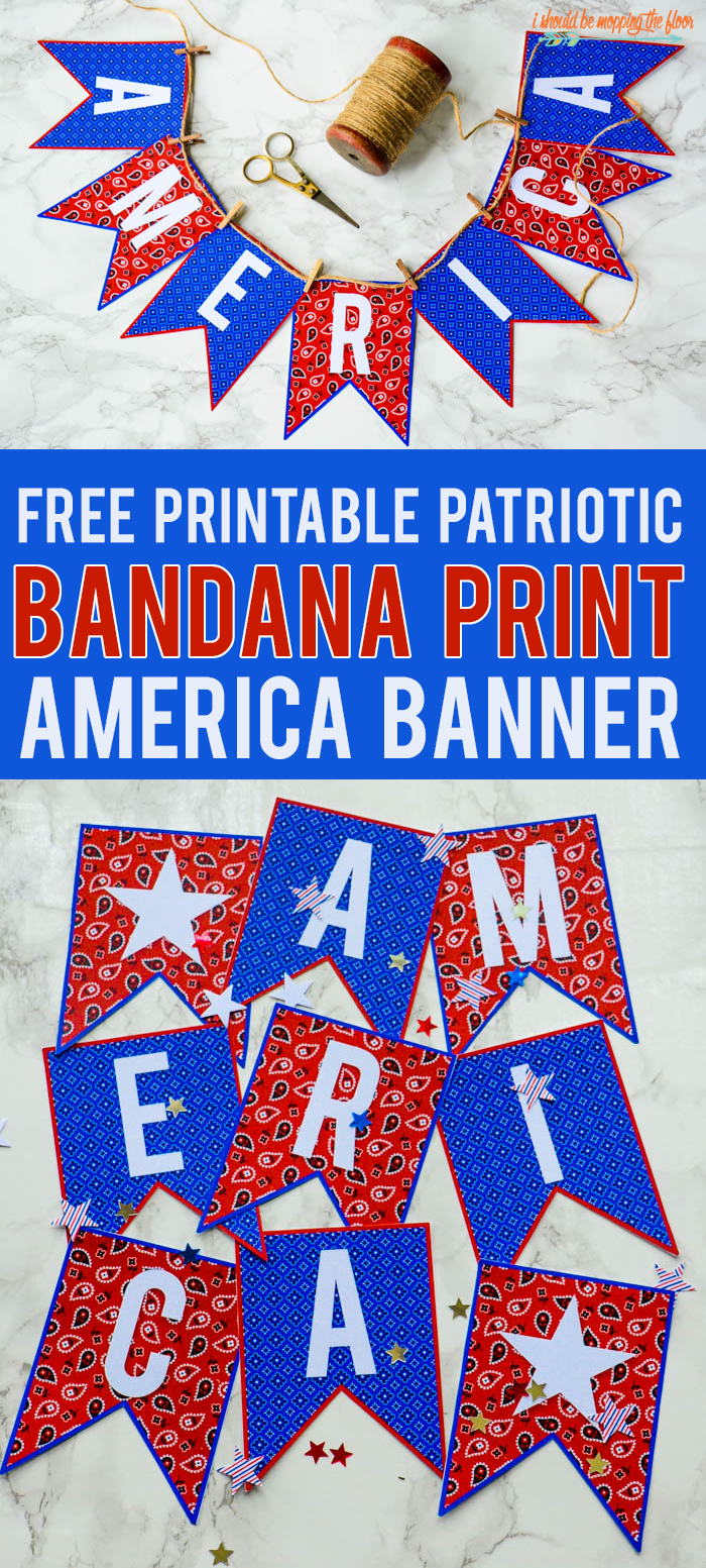 Free Printable Patriotic Banner | This free red and blue bandana print AMERICA banner is perfect for your patriotic decor or party fun!