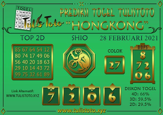 Prediksi Togel HONGKONG TULISTOTO 28 FEBRUARI 2021