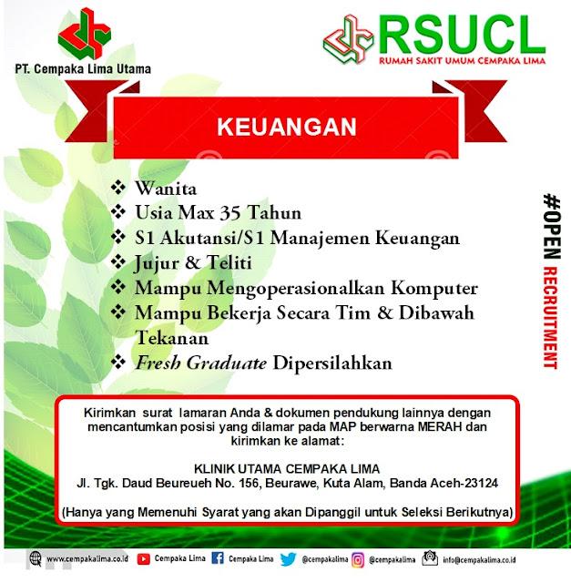 Lowongan Kerja Sebagai Keuangan RSU Cempaka Lima Aceh Tahun 2020