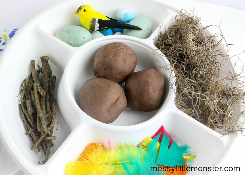 Build a bird nest playdough activity invitation