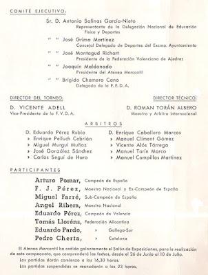 Comités del XXIII Campeonato de España de Ajedrez 1958