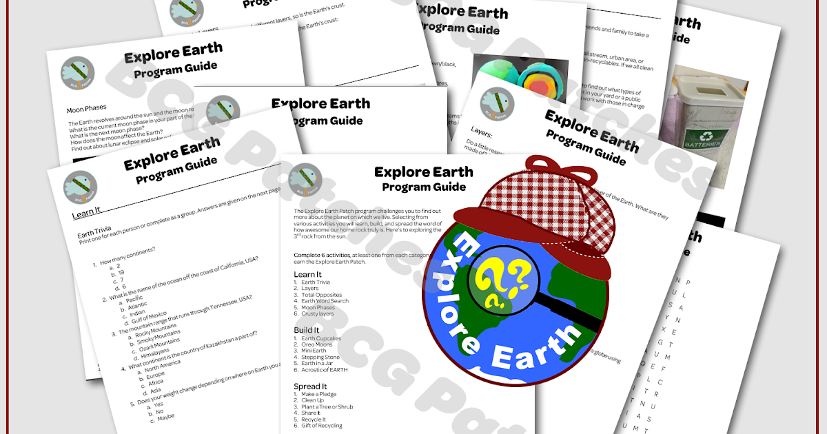 Girl scout leader 101 explore earth patch program for Explore plan