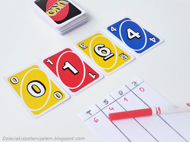 na zdjęciu stos kart uno, cztery karty odkryte o wartościach zero,jeden,sześć, cztery, w dole zdjęcia kartka z zapisanym wynikiem