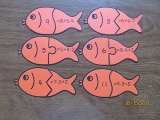 Addition and Subtraction 3 Number Equation Fish Puzzles