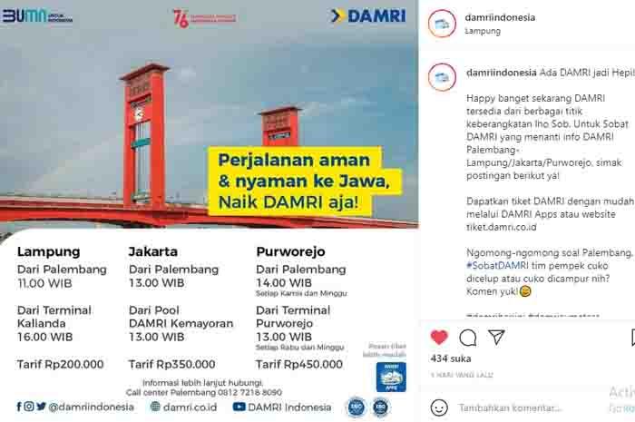 Jadwal Damri Palembang Purworejo Usai PPKM Darurat di Pulau Jawa