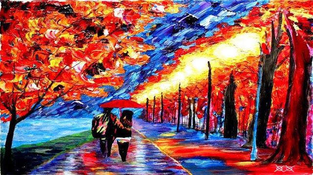 رسمة اخرى تبين طريق بين اشجار ويسر بها رجل وفتاة تحت مضلية