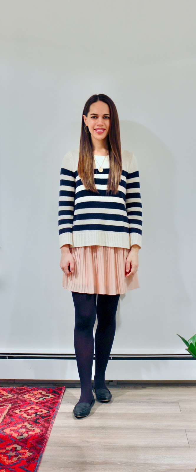 Jules in Flats - Striped Sweater with Pleated Mini Skirt (Business Casual Winter Workwear on a Budget)