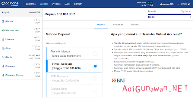 Cara Deposit Exchange Coinone Indonesia
