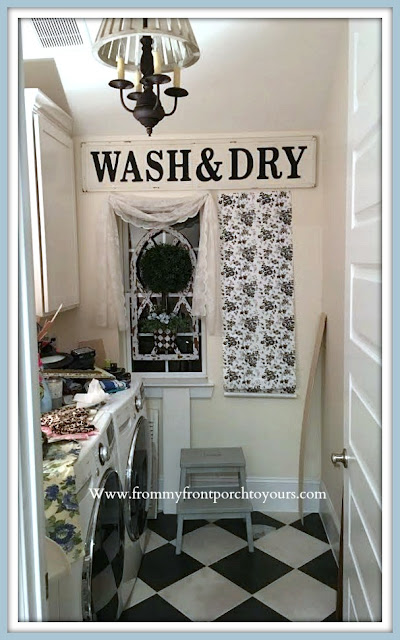 Laundry Room Makeover Farmhouse Cottage Style-Black & White Toile-From My Front Porch To Yours