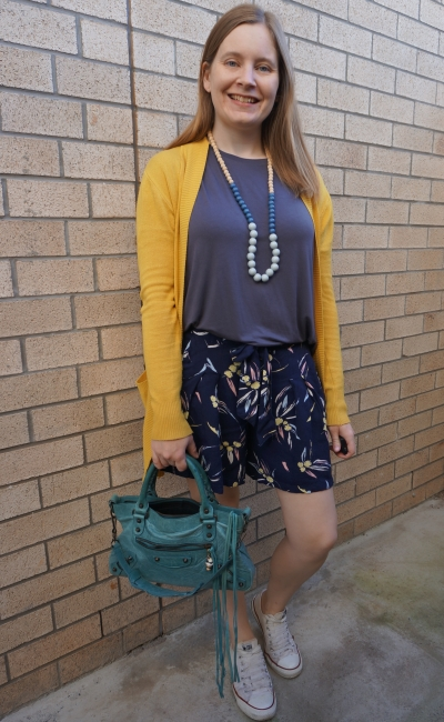 mustard cardigan with grey tee blue printed culottes shorts teal balenciaga first bag | awayfromblue