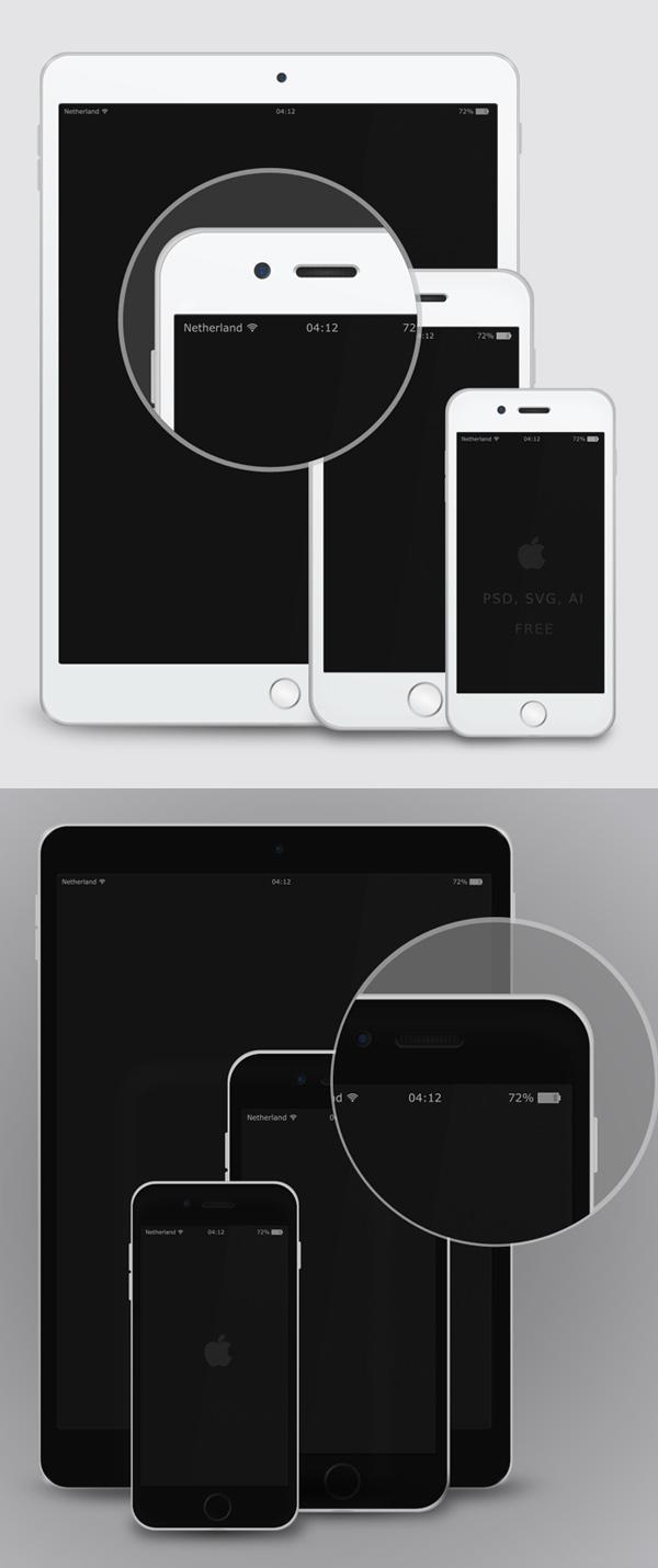 Mockup terbaru 2017 gratis - Free Vector Mockup – iPad &iPhone 6 – White & Black